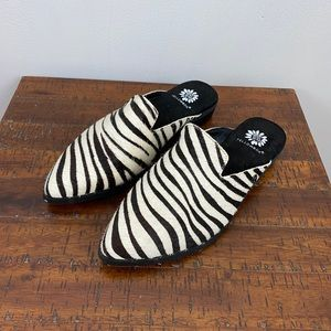 Yellow Box Finlinn Pony Hair Zebra Print Mules